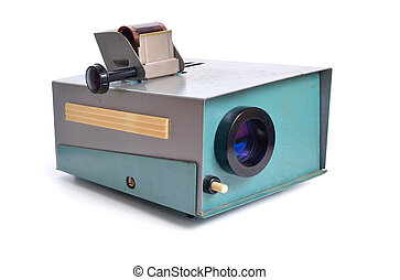 Vintage slide projector is an opto-mechanical device for showing photographic slides. Isolated on white