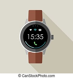 Vintage smart watch design with time and icons