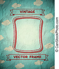 Vintage smooth frame with clouds
