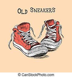 Vintage Sneakers Hand Drawn