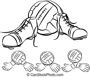 vintage soccer or football boots, goalkeeper gloves and ball