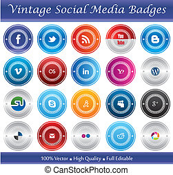Vintage Social Media Badges - This is a nice, simple and...
