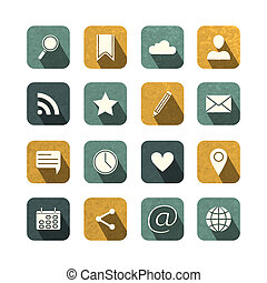 Vintage social media icons set