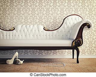 ... Vintage Sofa And Wallpaper Wall (retro Style Illustration)
