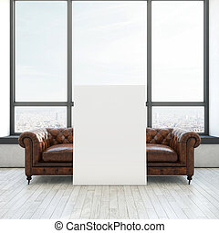 Vintage sofa and white poster