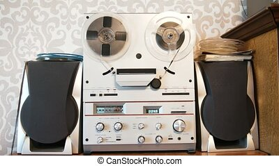 Vintage soiviet reel-to-reel tape recorder - mucic. close up