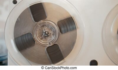 Vintage soiviet reel-to-reel tape recorder - close up view