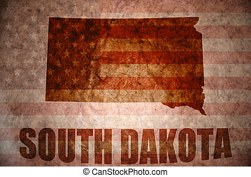 Vintage south dakota map - south dakota map on a vintage...