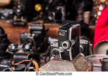 Vintage soviet movie camera on flea market