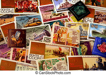 Vintage Soviet Stamp Background 1