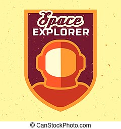 Vintage space and astronaut badge or label.