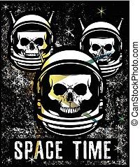 Vintage Space Skull T shirt Graphic Design