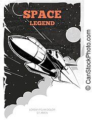 Vintage space vector poster with shuttle. Vintage poster,...