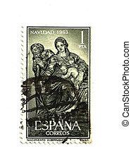 Vintage Spanish Christmas Postage Stamp