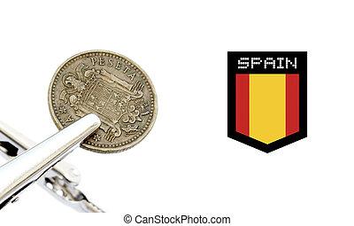 Vintage spanish coin photo detail