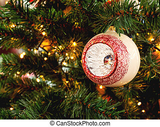 Vintage sparkling ball, decoration for Christmas tree. Traditional decoration for New Year celebration.