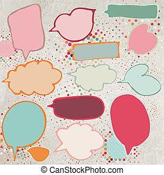 Vintage speech bubbles set. EPS 8