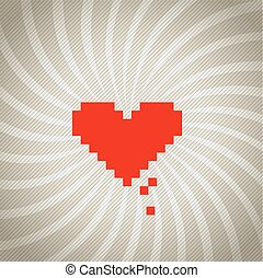 Vintage spiral background with a red heart