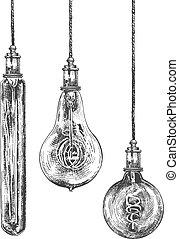 Vintage spiral Edison light bulb set - Vector illustration ...