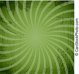 Vintage spiral green background with blots