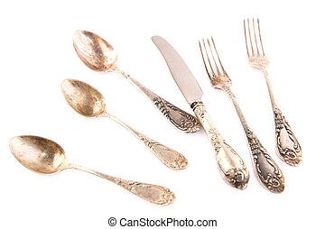 Vintage spoons, knife and forks