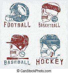 vintage sport grunge vector labels set with skulls