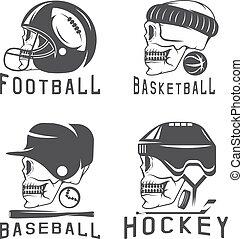 vintage sport vector labels set with skulls