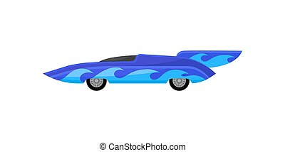 Vintage sports automobile decorated with blue waves. Racing car with spoiler. Extreme auto sport. Flat vector design