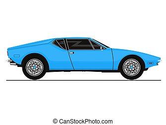 Vintage sports car. - Vector sticker of vintage sports car....