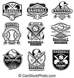 Vintage sports logo design. Retro baseball vector label and badges