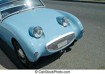 Vintage sportscar - Front of vintage, light blue sportscar