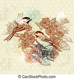 Vintage Spring Card with Bird and Flowers - hand drawn in vector