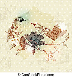 Vintage Spring Card with Bird and Flowers - hand drawn in...