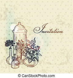 Vintage Spring Card with Flowers - hand drawn in vector