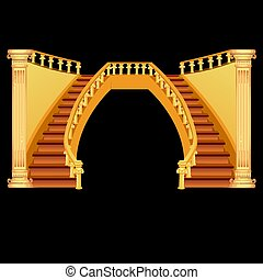 Vintage staircase isolated on a black background. Vector illustration.