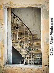vintage stairs in a building of Valletta