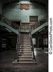 vintage stairway in a old building