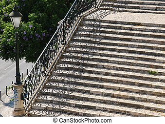 Vintage stairway with traditional lamp post