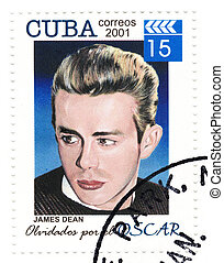vintage stamp with actor James Dean