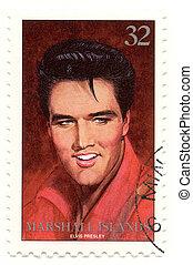 vintage stamp with famous rock and roll singer Elvis Presley