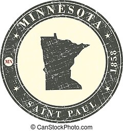 Vintage stamp with map of Minnesota