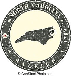 Vintage stamp with map of  North Carolina