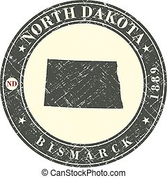 Vintage stamp with map of North Dakota