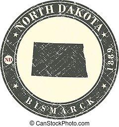 Vintage stamp with map of North Dakota