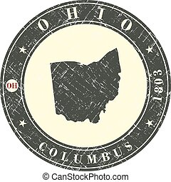 Vintage stamp with map of Ohio. Stylized badge with the name...