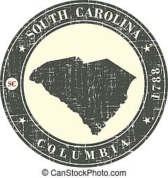 Vintage stamp with map of  South Carolina