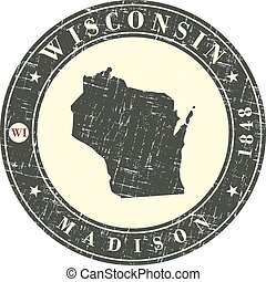 Vintage stamp with map of Wisconsin