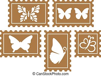 Vintage Stamps with Butterflies