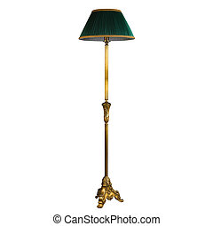 Vintage stand floor lamp isolated on white with clipping...