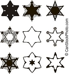Vintage Star of David. Jewish six-pointed star. Set. Hand draw. Vector illustration on isolated background.